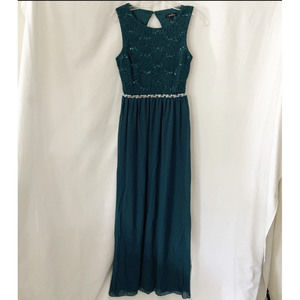 Speechless Lace Sequin Rhinestone Maxi Dress